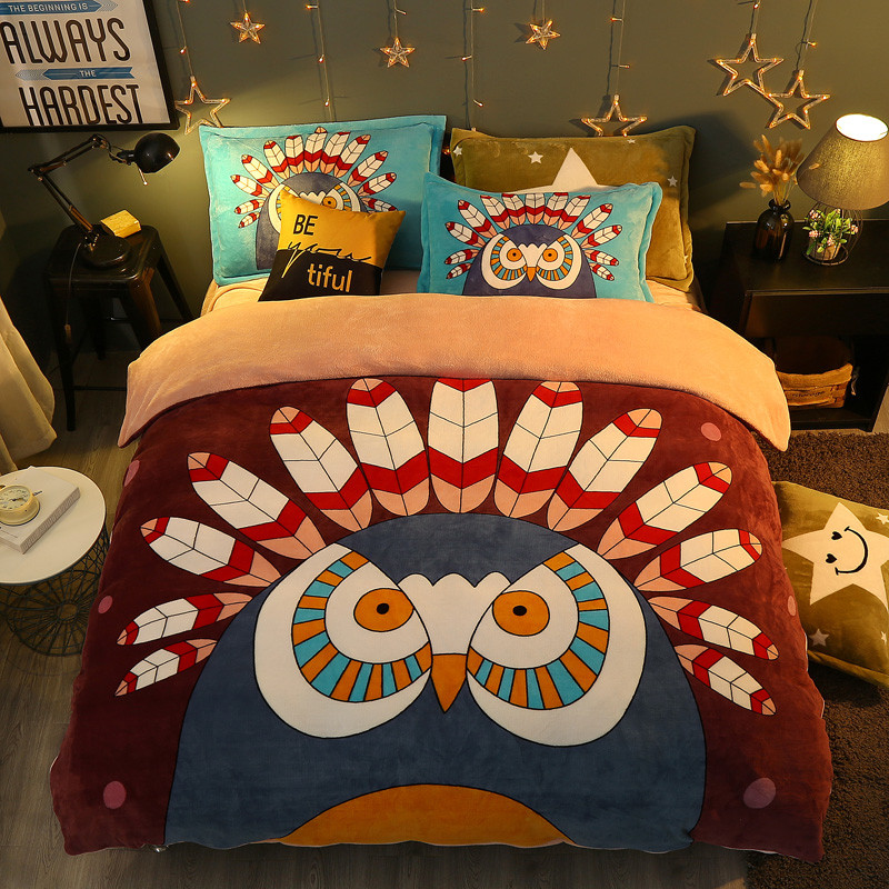 Winter 4 Pieces Cartoon uil Luxe Beddengoed Set Kingsize Queen Bed Set Fleece stof Dekbedovertrek Laken Kussensloop