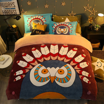 winter 4Pieces Cartoon owl Luxury Bedding Set King Size Queen Bed Set Fleece fabric Duvet Cover Bed Sheet Pillowcase