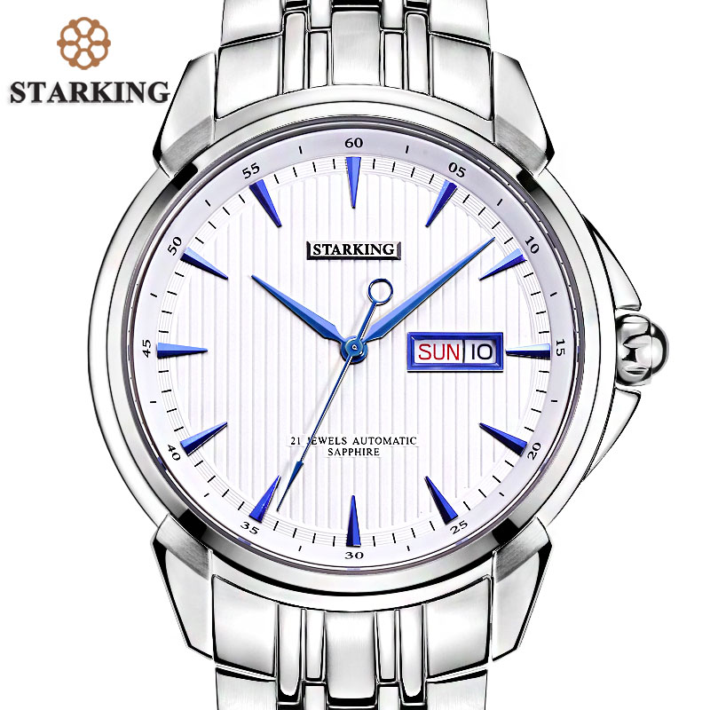 STARKING Men's Luxury Automatic Self-wind Stainless Steel Wrist Watch Rose Gold Elegant Men Watches With Sapphire Crystal Clocks original binger mans automatic mechanical wrist watch date display watch self wind steel with gold wheel watches new luxury