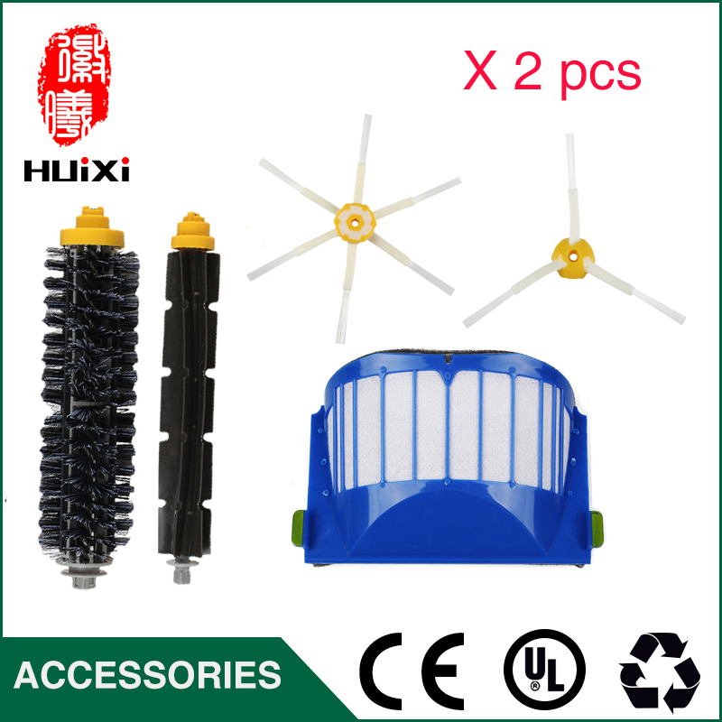Filters and Brushes Replacement Kit for iRobot Roomba 500 600 Series 585 595 620 630 650 660 680 690 Vacuum Cleaning Robots bristle brush flexible beater brush fit for irobot roomba 500 600 700 series 550 650 660 760 770 780 790 vacuum cleaner parts