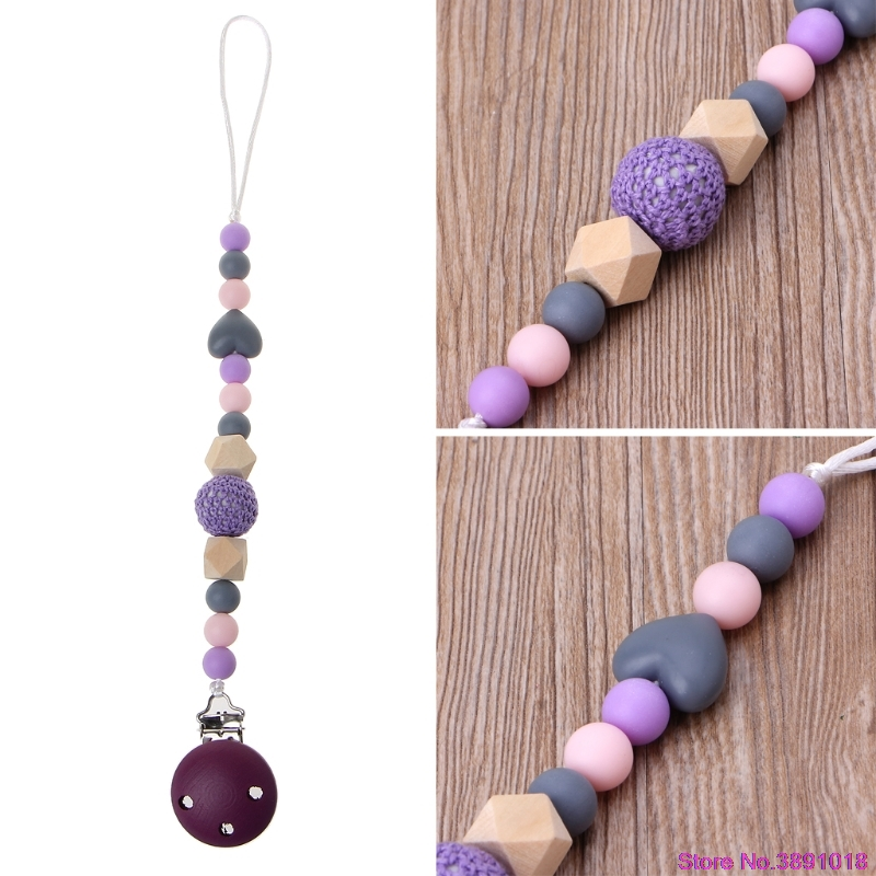 New Cute Purple Baby Teething Dummy Pacifier Clip Infant Soother Nipple Strap Chain