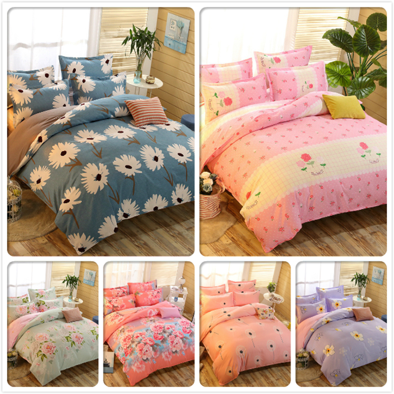 Flower Floral Print 3/4 Pcs Bedding Set 1.5m 1.8m 2m Bedsheet Single Double Queen King Size Duvet Cover Bed Sheet Linen Bedlinen