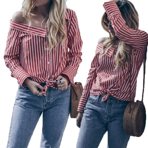 df1d03d2 Women Off Shoulder Long Sleeve Striped Shirt Button Down Casual Loose  Blouse Tops shirt-in Blouses & Shirts from Women's Clothing on  Aliexpress.com ...