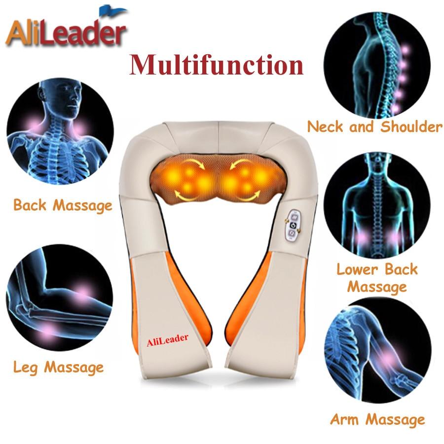 Alileader Comfortable Portable Massage Pillow 8 Massage Heads With Warm Heat For Back Neck Shoulder Abdomen Cellulite Massager - 5