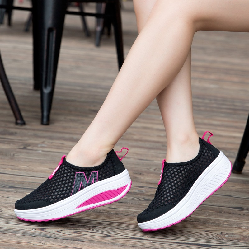 Platform Women Vulcanize Shoes Air Mesh Tenis feminino Female Casual Addeds Shoes Women Sneakers Breathable Ladies Shoes ABT964 fashion embroidery flat platform shoes women casual shoes female soft breathable walking cute students canvas shoes tufli tenis