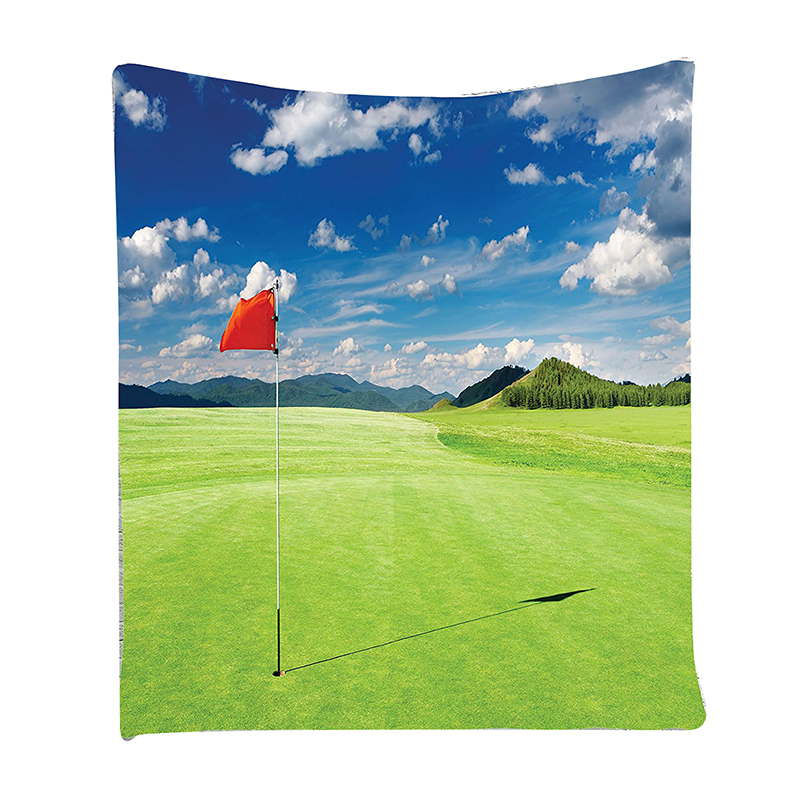Sports Decor Collection, Golf Field with Flag in the Hole Clouds Sky, Wall Hanging Tapestry, Green