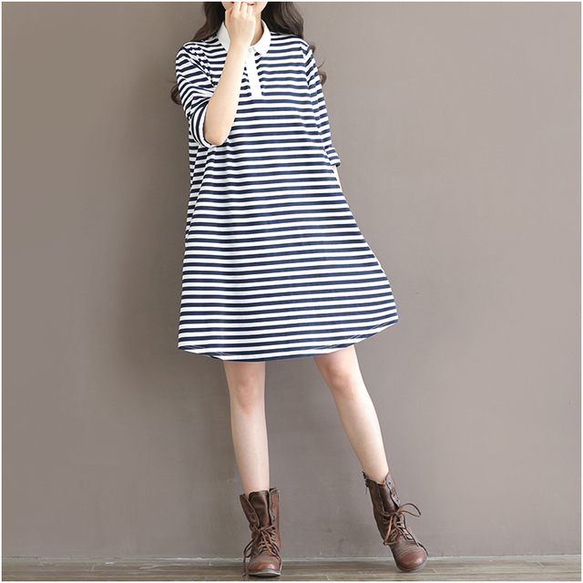 Maternity dresses  pregnant clothes 2016 spring short sleeve fashion knit striped dresses 100% cotton T-shirts Turn-down collor