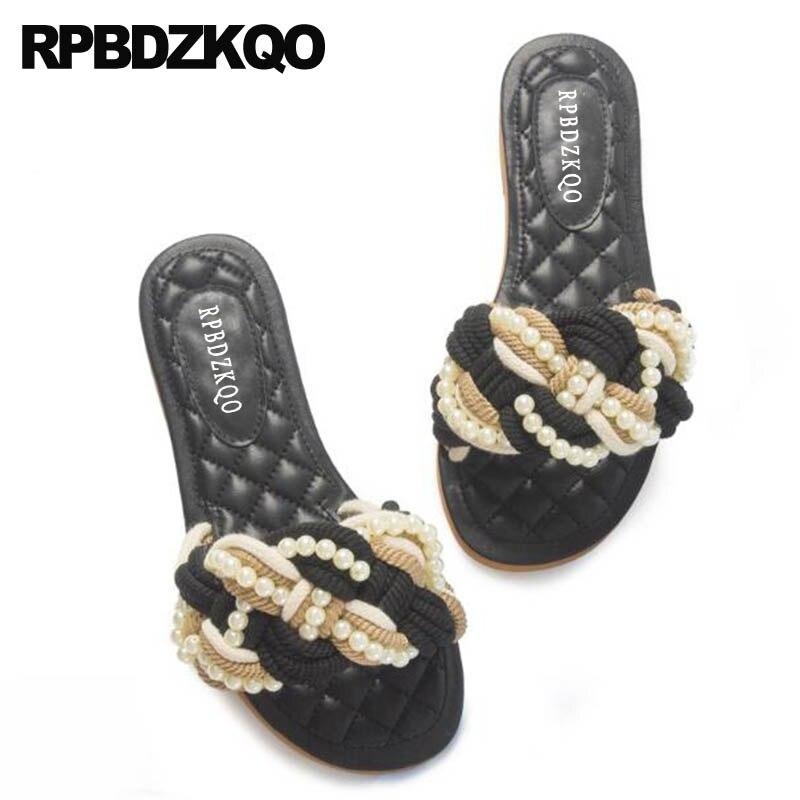 Genuine Leather Slides Beaded High Quality Big Size Luxury Shoes Women Designer Rope Flat Pearl Embellished Sandals Beach Black