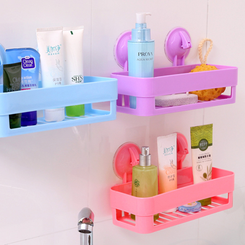 New Wall Sucker Bathroom Racks Pp Plastic Shelves Storage Bathroom  Accessories Pink Purple Green Bluein Bathroom Shelves From Home Improvement  With Pink And ...