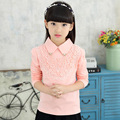 Girls Blouses Shirts New 2016 Fashion Solid Turn-Down Lace Flower Blouses Children Girls Cotton Clothes