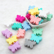 Chenkai 10pcs BPA Free Silicone Butterfly Teether Beads DIY Baby Animal Teething Montessori Sensory Jewelry Making Toy