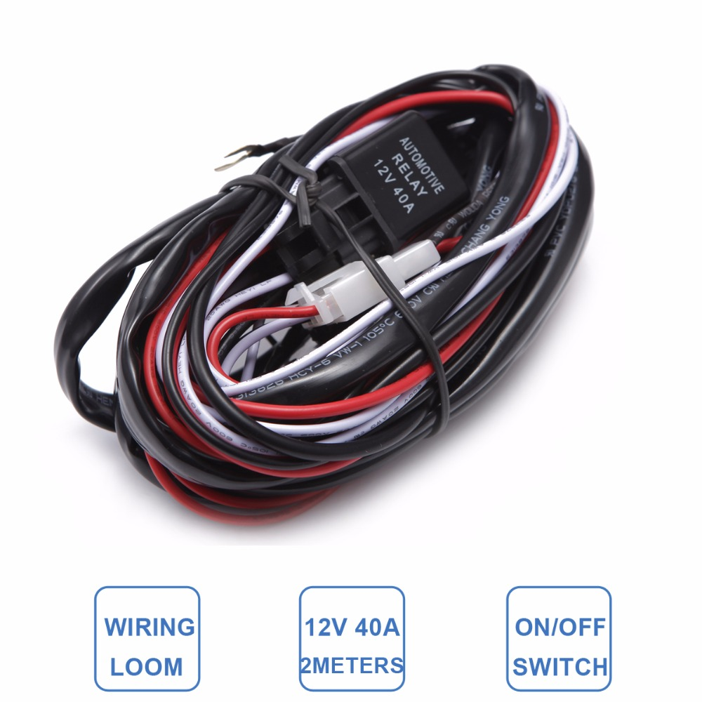 Car Light Wire Harness Loom Kit Offroad LED Worklight Bar Driving Refit Lamp  Extension Wiring 2M