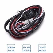Автомобиль тонкая проволока провода с оплеткой комплект Offroad светодиодный Рабочая подсветка для вождения ремонт лампы очень проводка расширения 2 м 2,5 м 3 м кабельный контроллер