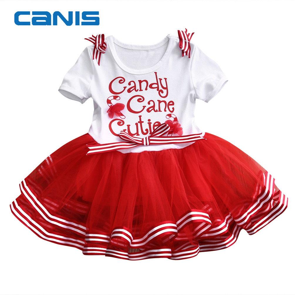 2017 Brand New Christmas Baby Girls Flower Dress Kids Party Pageant Princess Tutu Dresses Santa Sundress 1-6T new summer toddler kids baby girls floral sleeveless princess dress flower tutu party dresses
