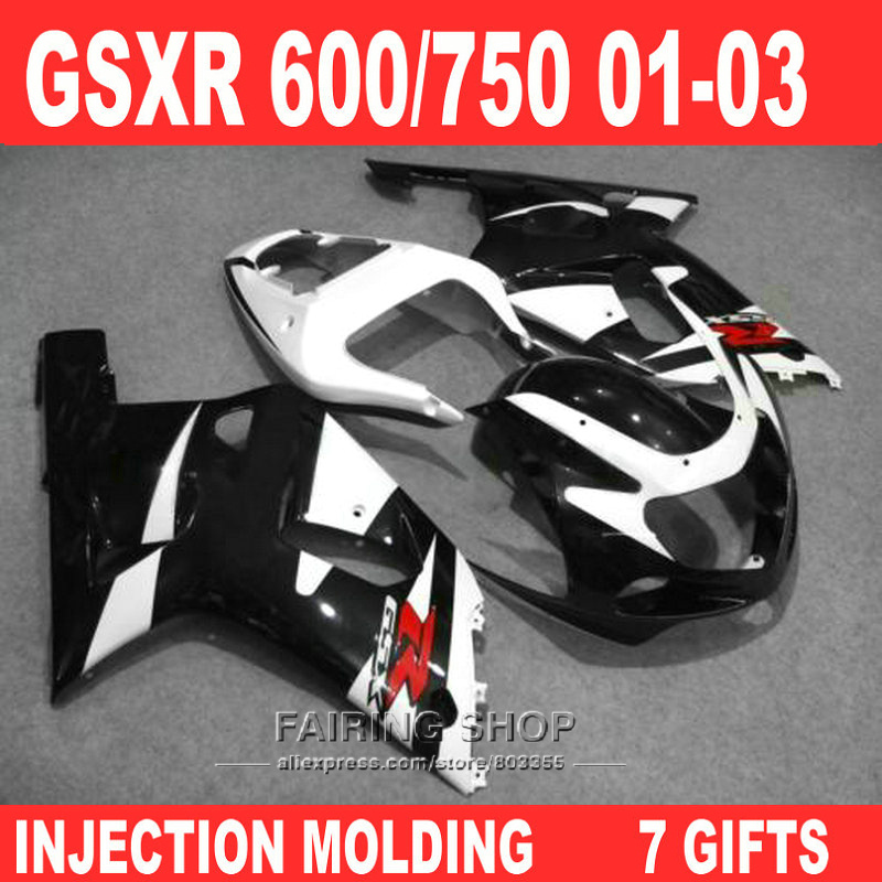 Moto Fairing kit for Suzuki gsxr600 750 2001 2002 2003 (Black white) 01 02 03 Injection molding fairings Sticker free n42 gravity falls dipper s and mabel s guide to mystery and nonstop fun