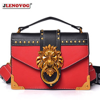 Women's Lion Head Lock Handbag and Purse Female Fashion Red Black Leather Rivets Crossbody Bags for Women Mini Designer Tote Bag