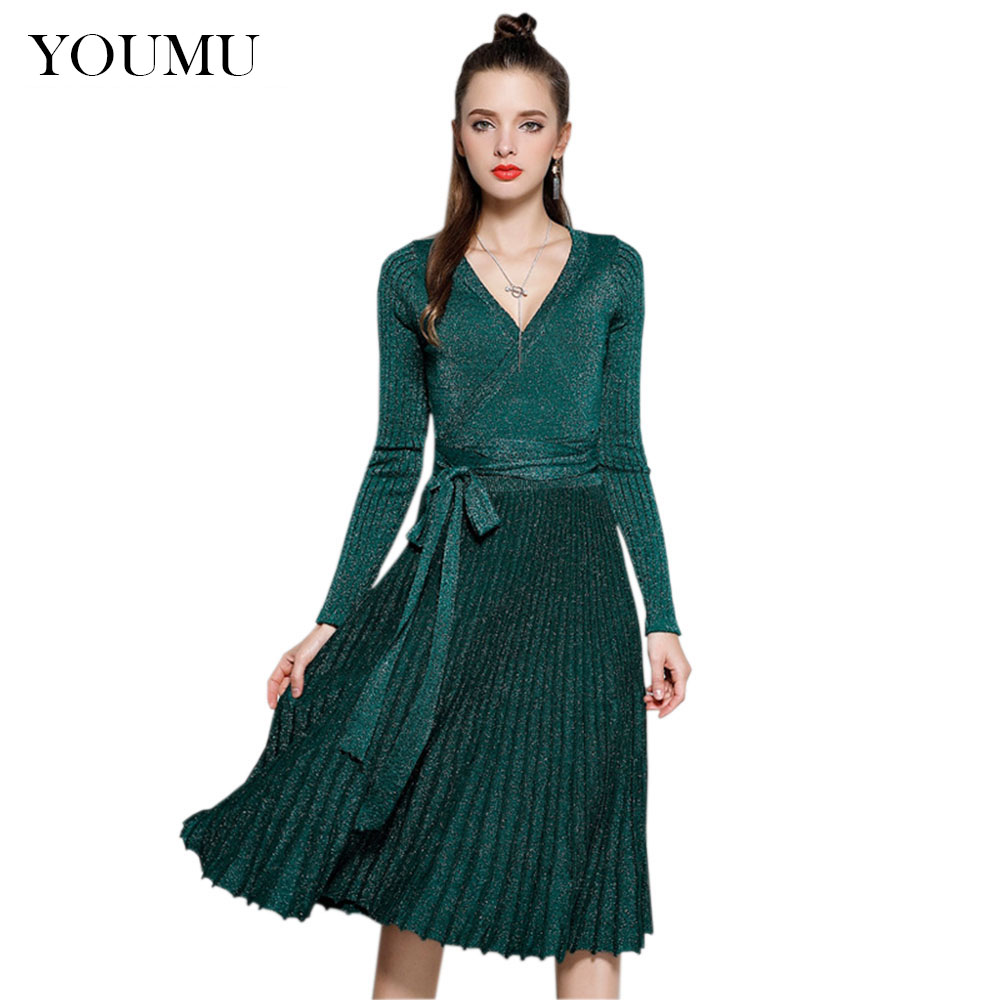 Long Sleeve V-Neck Knitted Dress Women Fashion Glitter Sexy Pleated Knee-Length Party Dresses Spring New Streetwear SMT-A005 forefair fashion slim knitted party dresses women clothing 2018 spring long sleeve sexy criss cross v neck bodycon dress vestido
