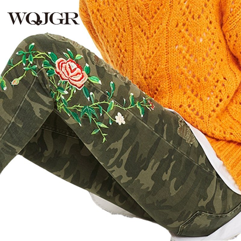 WQJGR Hole Camouflage Jeans Women Summer 2018 New Cotton Embroidery Loose Straight Jeans Fashion Street Shooting Pants Tide high waist jeans rushed cotton zipper fly high plaid loose 2016 korean women summer new straight scraping hole cutoff jeans