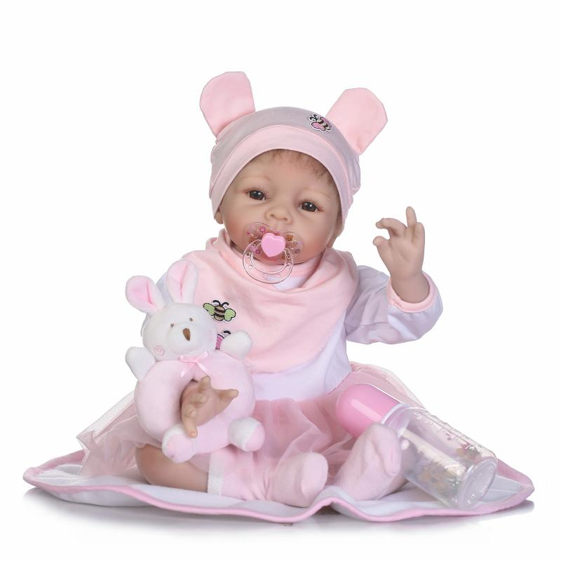 Nicery 20-22inch 50-55cm Bebe Reborn Doll Soft Silicone Boy Girl Toy Reborn Baby Doll Gift for Children Vivid Pink Dress Hat nicery 18inch 45cm reborn baby doll magnetic mouth soft silicone lifelike girl toy gift for children christmas pink hat close