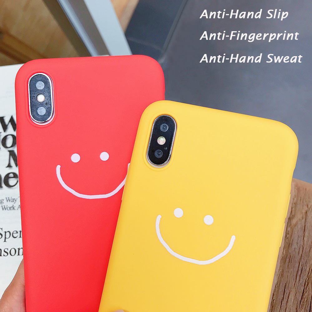 KIPX1083_3_JONSNOW Phone Case for iPhone X XR XS Max Candy Color Smiley Pattern Soft Silicone Case for iPhone 7 8 6S 6 Plus Back Cover