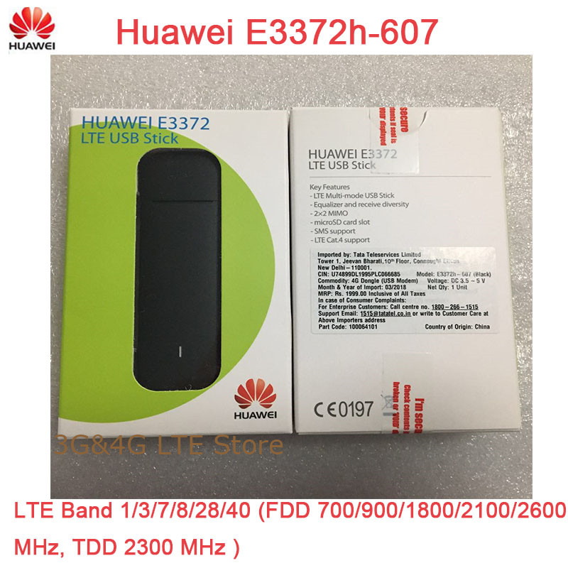 Unlocked Huawei 4G USB Modem E3372 E3372h-607 4G LTE 150Mbps USB Dongle 4G  USB Stick Datacard