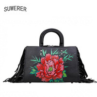 Новые женские сумки из натуральной кожи с ручной росписью цветы модные роскошные сумки с кисточками женские сумки дизайнерские женские кож