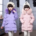 Long Girls Down Coats Russian Winter Thick Warm Children Coats With Fur Hooded Baby Girls Jackets Kids Outwear For Winter