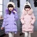 Muchachas largas de Down Abrigos de Invierno Ruso Gruesa Caliente Niños Abrigos Con Capucha de Piel de Bebé Niñas Niños Chaquetas Outwear Para El Invierno