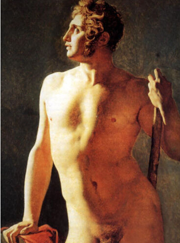 Free Shipping Hand-painted Art Oil painting <font><b>Study</b></font> <font><b>of</b></font> <font><b>a</b></font> <font><b>Male</b></font> <font><b>Nude</b></font> standing with Cane canvas For Living Room