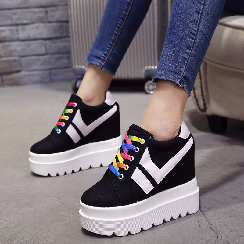 Nice New Korean Fashion Wild Super High Heels Shoes Breathable Comfort Thick Bottom Casual Shoes Women Single Shoes 4