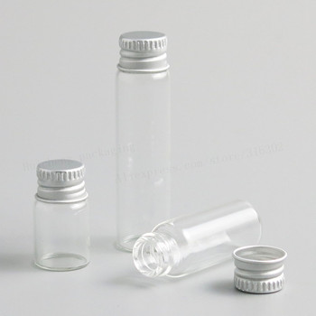 100 x 2ml 4ml 6ml Clear Glass Container With Aluminum Cap Small Glass Bottle With Screw lids for Essential Oil Use 50pcs lot 6ml small glass bottle with sliver edge cap diy dry goods storage glass vial home decoration crafts candy glass jar
