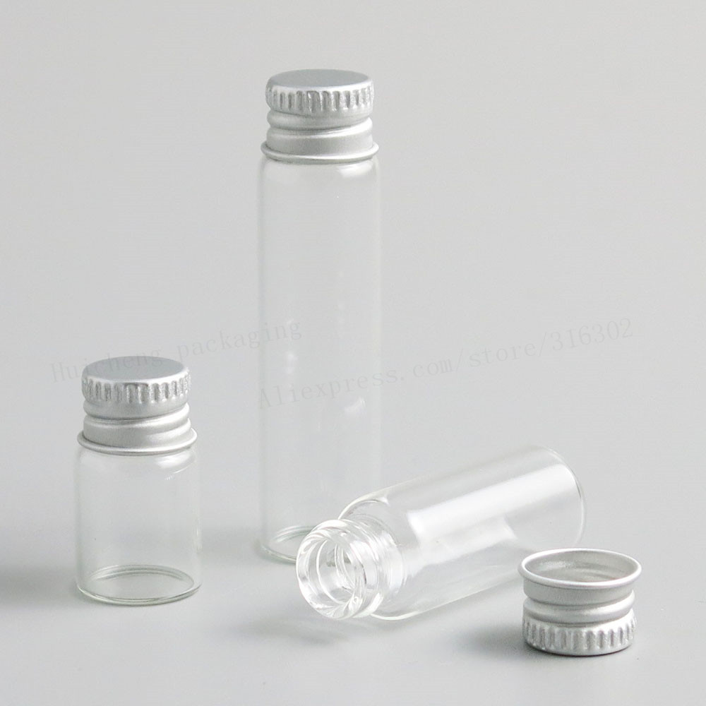Jarvials 50 suits 2ml-6ml Mini Cute Transparent Glass Bottle With Aluminum Cover