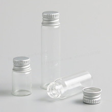 Контейнер стеклянный прозрачный с алюминиевой крышкой, 100x2/4/6 мл