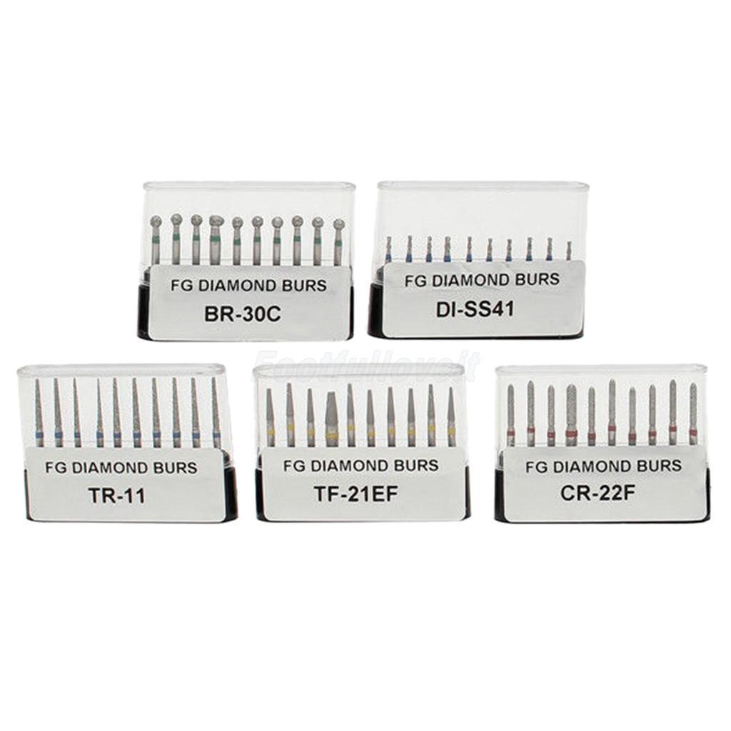 Livraison gratuite 50 pcs (5 Pack) salut-soins Dentaire Diamant Fraises FG 1.6mm Pour Haute Vitesse Pièce À Main