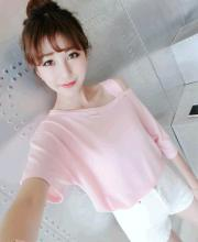 Summer Women Strapless Sexy Black And Pink Color Stitching Loose Loose Top T-shirt Short Sleeve Shirt