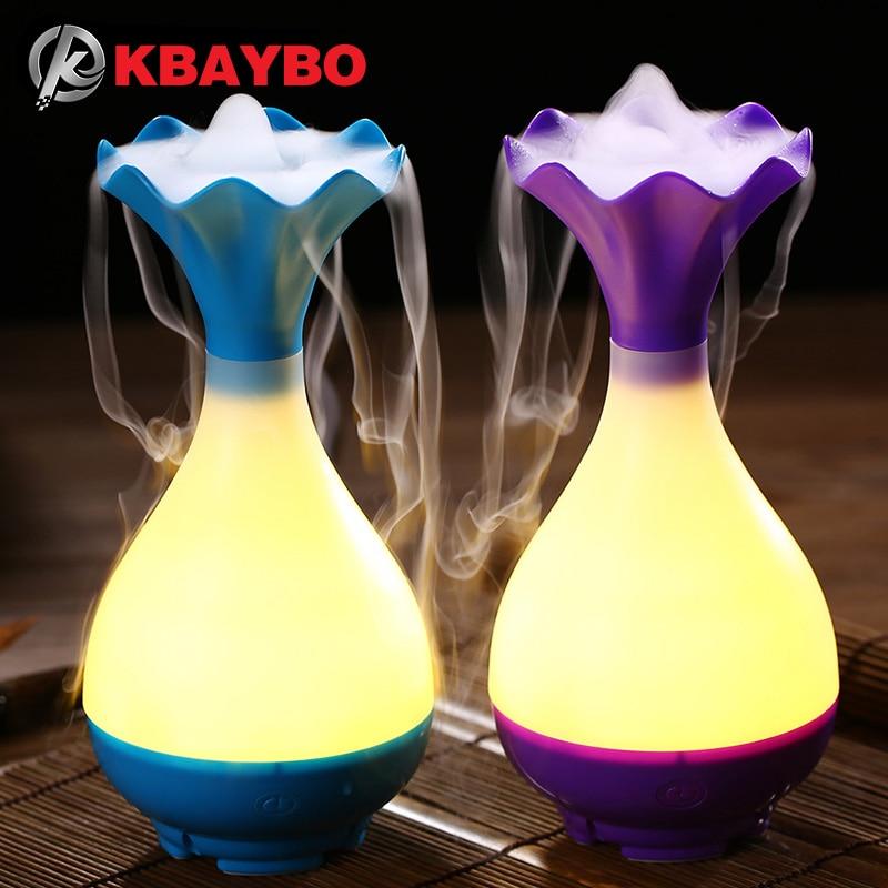 USB humidificador de aire aromaterapia ultrasónico Aceites aroma difusor con luz de noche LED Mist purificador atomizador para el hogar