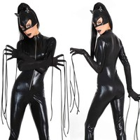 New Sexy Black Catwomen Jumpsuit Catsuit Lady Sexy Clubwear Bodysuits Faux Leather Zipper Body Suit With