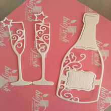 New Wine Bottle and Cup Carbon Steel Cutting Dies Craft Creative Scrapbook Stamps Dies Embossing Paper 104x38mm 81x23mm new exquisite box carbon steel cutting dies craft stamps and dies creative scrapbook stamps dies embossing paper 2pcs