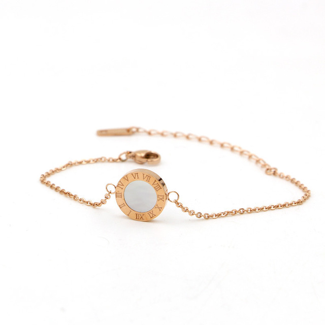 Whiteblack shell round Roman rose gold silver Bangle for women
