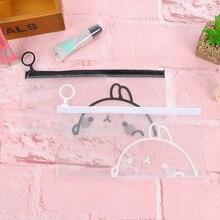 K18 Kawaii Cute White Black Molang Rabbit Clear Pen Bag Pencil Holder Storage Case School Supply Kids Gift Cosmetic Bag(China (Mainland))