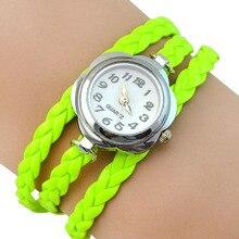 Women's Flower Case Analog Quartz 3 Layers Braided Bracelet Wrist Dress Watch  6XZ1