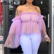 FQLWL Off Shoulder Ruffles Pleated Mesh Sexy Blouse Women Top Strapless Pink White Ladies