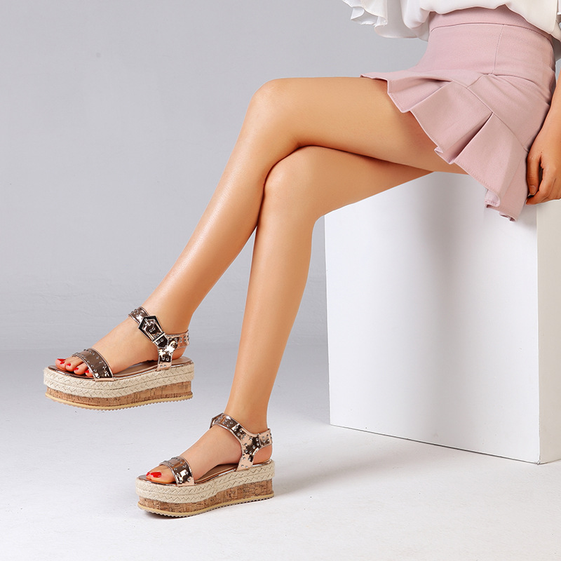 plus size Single cusp shoe strappy heels casual shoes Casual soulier femme High Strappy sandals wedge Wedges Elegant korean
