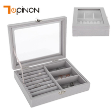 Flannel Square Jewelry Organizer Storage Box 2 Slots Functional Tray Small Ring Earrings Display Carrying Jewelry Packaging Box