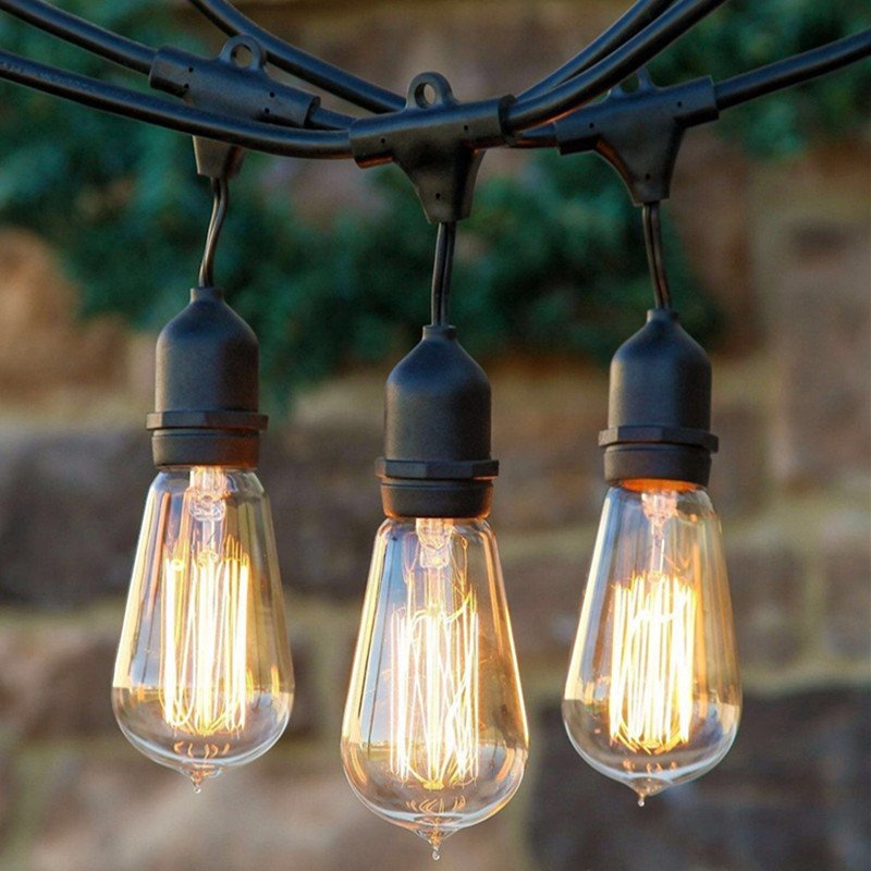 String light company vintage 48 ft outdoor commercial string lights string light company vintage 48 ft outdoor commercial string lights with 15 suspended sockets and 15 clear s14 bulbs e27 globe in lighting strings from aloadofball Choice Image