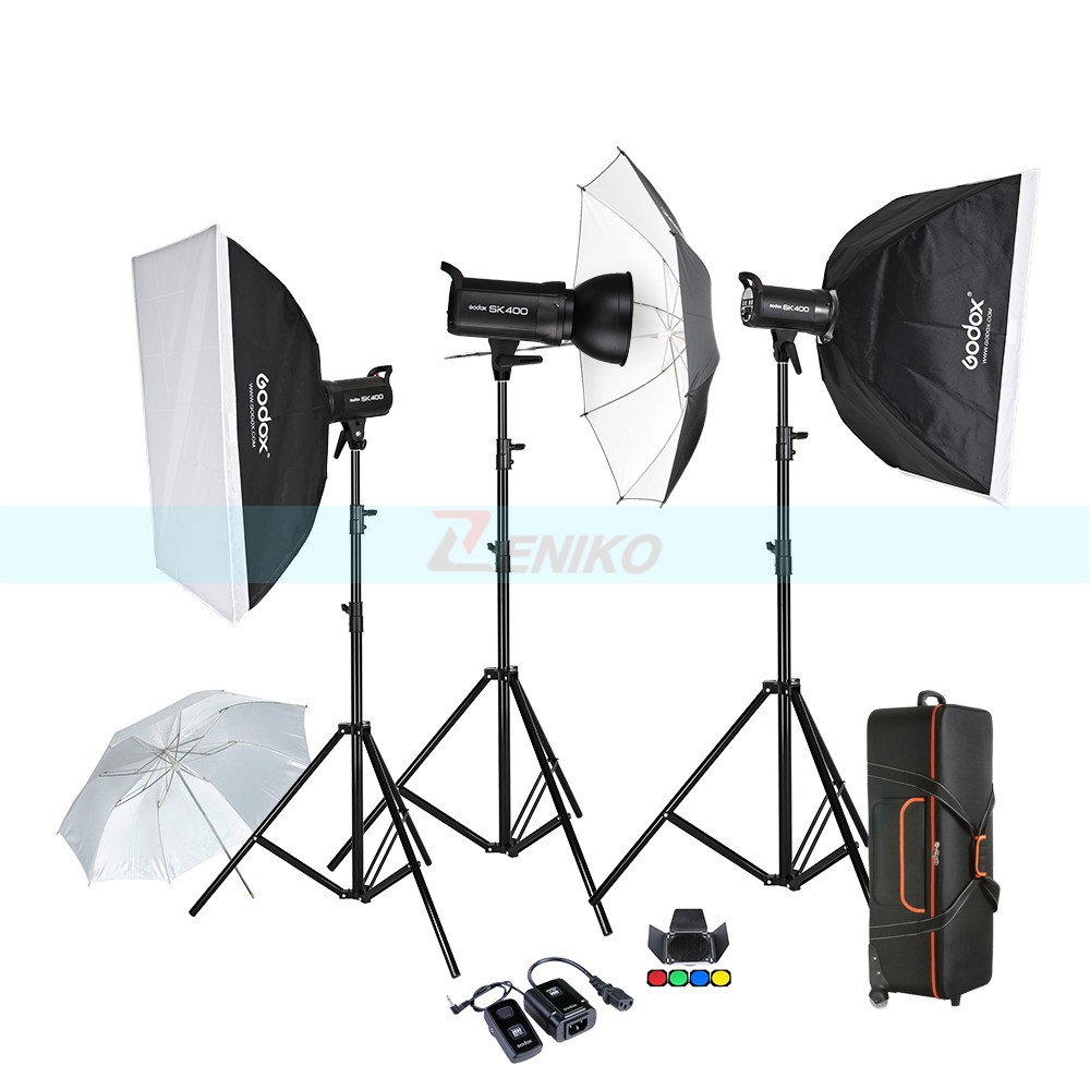 Free DHL Godox SK400 3 x 400W Compact Photo Studio Flash Lighting set Digital Photography Strobe Light & Softbox Portrait Kit