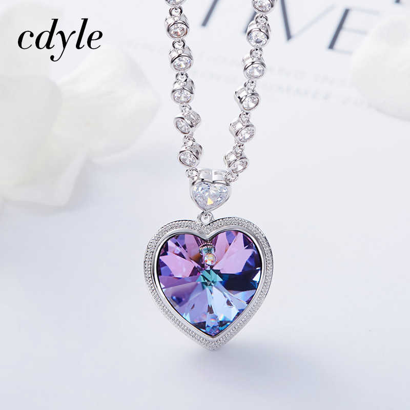 ... Cdyle Crystals from Swarovski Angel Heart Necklaces Purple/Blue Crystal  Heart Pendant Necklace Best Gifts ...