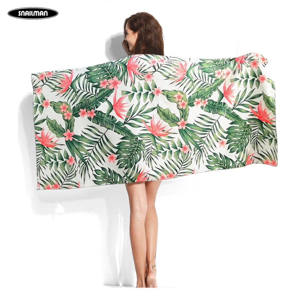 Palm Leaf Printed Surfing Towel Compact Microfiber Beach Travel Quick Surf
