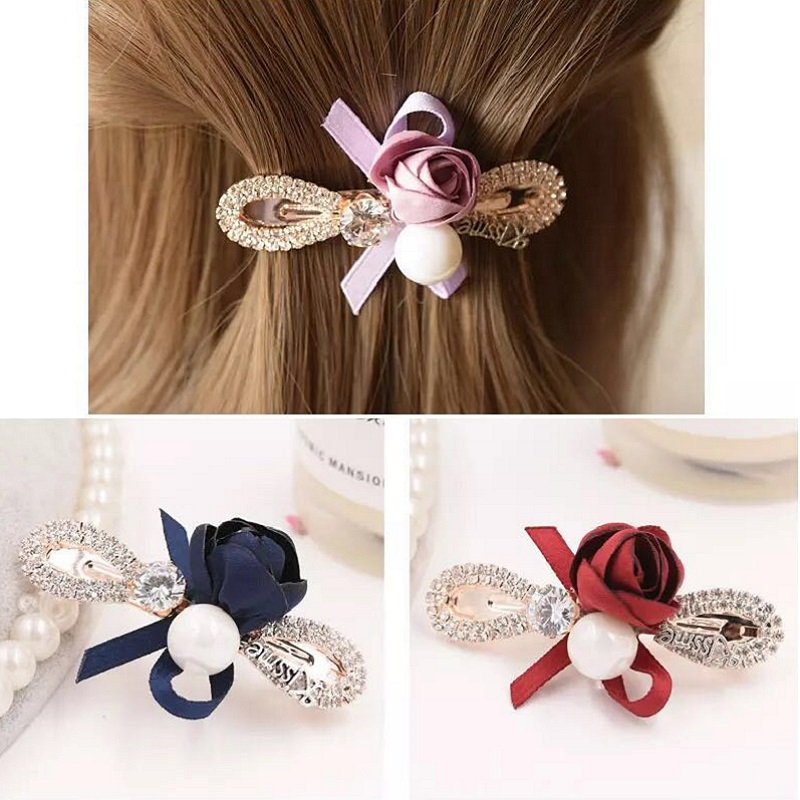 M MISM Woman Floral Hairpins Girls Barrette Big Pearl Crystal Hair Clips Elegant Hairgrips Beautiful Bow-Knot Hair Accessories