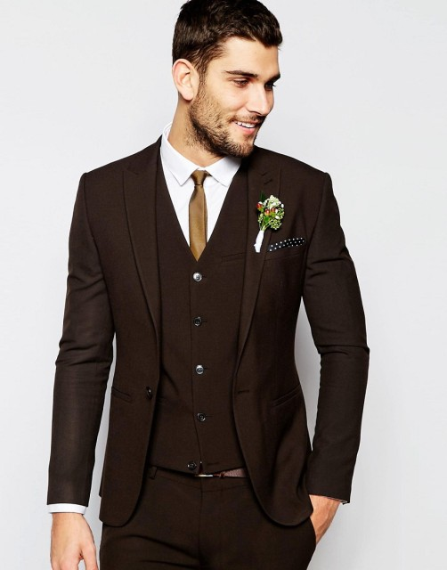 Center Vent Groomsmen Shawl Lapel Groom Tuxedos Dark Brown Men ...